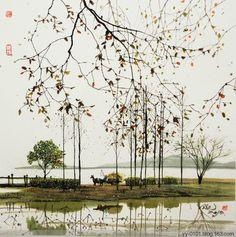 暫時放下一切,與心愛的人一起享受時間。 Chinese Landscape Painting, Japanese Painting, Chinese Painting, Watercolor Landscape, Japanese Art, Landscape Paintings, Chinese Brush, Chinese Art, Painting & Drawing
