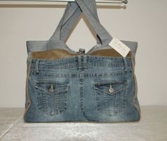 Large Upcycled Jeans Tote Purse Bag For Everyday Use and Travel #H1508 by DruandMegzDesign on Etsy