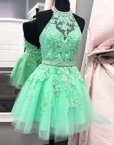 Mint Green Short Backless Prom Homecoming Dress - Halter with Appliques Beading,Sleeveless prom dress