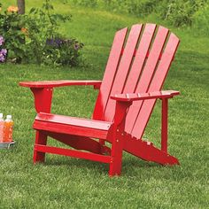 Classic Red Painted Wood Adirondack Chair, Model 4610