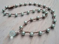RESERVED for HELEN Boho crochet necklace Aqua Pearl di slashKnots
