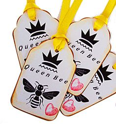 Whimsical Graphic Queen Bee Gift Tag Heart by wildabouttags, $3.50
