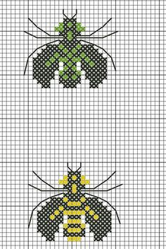 bug and bee free cross stitch chart