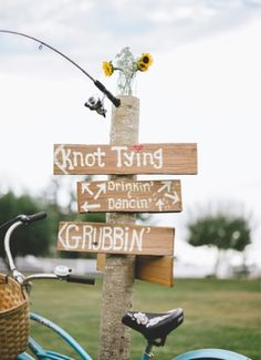 Country wedding directional sign.