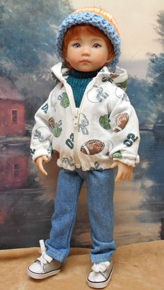 """Football"" Hoody Set by BEVBEESE to fit 13"" Little Darling boy doll #bevbeese"