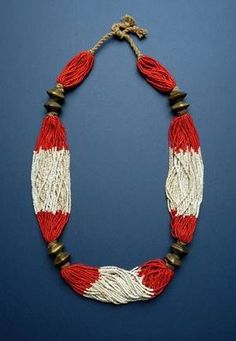 """""""ETHNIC JEWELLERY AND ADORNMENT"""" - Necklace featuring glass and brass beads. Orissa, India: Gondh women. Mid 20th c or earlier."""
