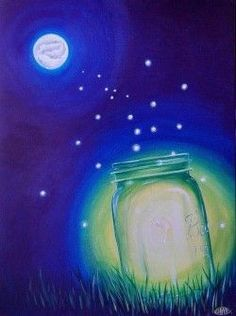 Mason jar centerpieces light of the koi moon painting art painting, simple acry Paint And Sip, Moon Painting, Painting & Drawing, Painting Canvas, Firefly Painting, Oil Painting Easy, Firefly Art, Summer Painting, Firefly Drawing