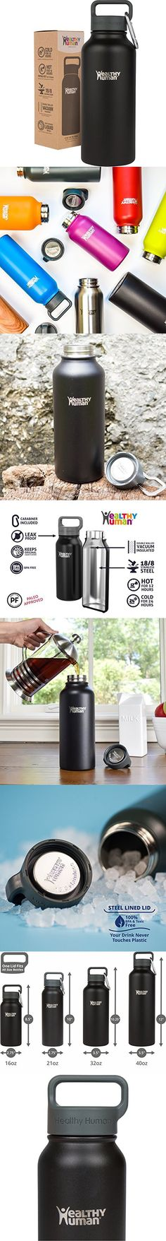 Healthy Human 32 oz Water Bottle - Cold 24 Hrs, Hot 12 Hrs. 4 Sizes & 12 Colors. Double Walled Vacuum Insulated Stainless Steel Thermos Flask with Carabiner & Hydro Guide. Color: Black Tie