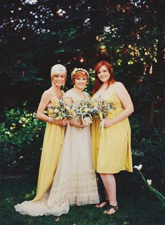 yellow bridesmaids dresses // photo by made u look