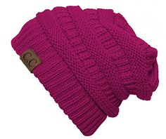Thick Slouchy Knit Oversized Beanie Cap Hat - Hot Pink Gr...