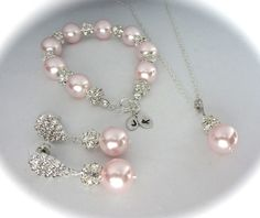 Bridal jewelry // 3 piece pink pearl set // bracelet - necklace - and earring // Rhinestones // Personalized // Initials // Sterling Silver