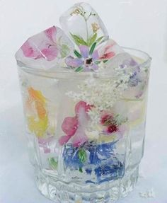 flowers in icy cubes. Nice idea