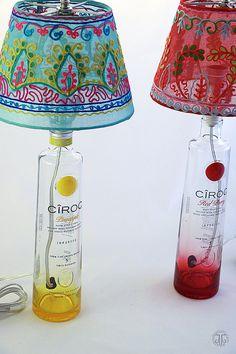 Cîroc Pineapple Recycled Liquor Bottle Lamp by TaylorMadeArtistry Wine Bottle Lanterns, Liquor Bottle Crafts, Wine Bottle Art, Diy Bottle, Liquor Bottles, Bottle Lamps, Recycled Lamp, Decorative Lamp Shades, Kids Lamps