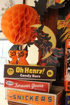 Vintage Halloween treasures and old boxes of candy.