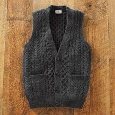Crochet Vests Men's Irish Sweater Vest - Road to Donegal Wool Vest, Merino Wool Sweater, Wool Sweaters, Irish Sweaters, Fleece Vest, Puffer Vest Outfit, Vest Outfits, Western Outfits, Irish Fashion