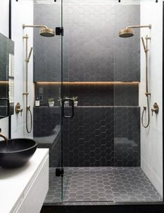 These shower tile ideas will make them hope to redesign your bathroom! Did you realize that changing the shower tile design for your bathroom can transform the whole look of. Bad Inspiration, Bathroom Inspiration, Modern Bathroom Design, Bathroom Interior Design, Modern Bathrooms Interior, Minimal Bathroom, Contemporary Bathrooms, Luxury Interior Design, Bath Design