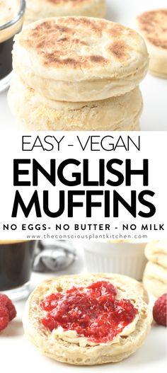 Vegan English Muffin Recipe, Fluffy Vegan Pancake Recipe, Vegan Pancake Recipes, English Muffins, Vegan Recipes, Cooking Recipes, Vegan Bread, Vegan Butter, Kidney Friendly Foods