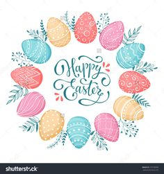 Easter wreath with easter eggs hand drawn black on white background. Decorative doodle frame from Easter eggs and floral elements. Easter eggs with ornaments in circle shape. Easter greeting card.