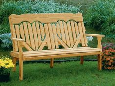 Amish Pine Wood High Back Heart Park Bench This sweetheart bench is handcrafted with solid pine. Create a beautiful spot to share with someone special in your yard or garden, or on your porch or patio. Amish wood furniture made in America. #pinebench #outdoorbench #gardenbench