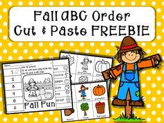 This Fall ABC Order Cut and Paste Freebie is a great way to discuss fall themed vocabulary words.  This download includes one cut and paste printable along with picture cards (color and b/w) for students to manipulate the words before students complete the printable activity.
