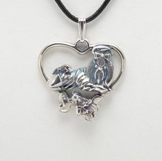"""Sterling Silver Shih-Tzu Pendant w/ 18"""" Sterling Ch by Donna Pizarro fr her Animal Whimsey Collection of Fine Dog Jewelry & Shih-Tzu Jewelry"""