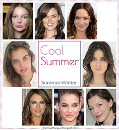 Cool Summer, Summer-Winter seasonal color celebrities by 30somethingurbangirl.com / Although I can't be certain about the celebrities' exact seasonal color palettes I would like to show some examples to visualize each color palettes. || #coolsummer #seasonalcolorpalette #coolsummercelebs #seasonalcolors #celebrities