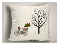 Christmas Pillows, Holiday Pillows, Reindeer, Birds, Pillow Covers, Pillows, Throw Pillow, Easy Care, Washable by PattyDavisDesignsTOO on Etsy