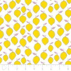 Tissu Camelot Fabrics Lemon - white x - Ma Petite Mercerie Pink Lemonade, Modern Fabric, Sewing Patterns, Creative, Fabrics, Design, Wire Weaving, Tejidos