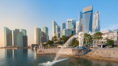 merlion fountain marina bay singapore hd wallpaper download