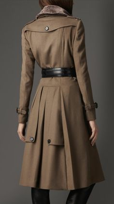 NWT $1995 BURBERRY LONDON Cashmere Wool Shearling Collar Military Trench Coat