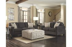 Grey couch tan walls. Cream ottoman and carpet | For the ...