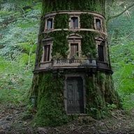 Woodland mansion - Fantasy image created from a tree in the Lake District, windows from a circular building in Rome, the door of Duomo, Florence and a refuse bin. by Gary Dixon Cool Tree Houses, Fairy Houses, Garden Houses, Beautiful Tree Houses, Garden Buildings, Dream Houses, Beautiful Homes, Beautiful Places, Lovely Things
