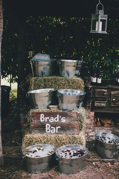 Simple for a country wedding.....for the hard stuff or simply filled with soda in bottles..