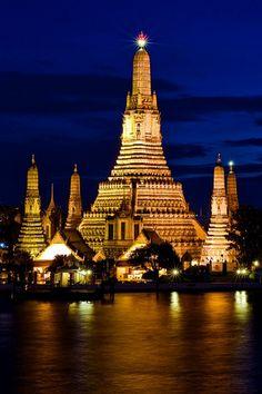 The Temple of The Dawn  - Wat Arun, Bangkok. Visit this amazing city at http://www.exoticvoyages.com/thailand/destinations/bangkok?utm_source=Pin&utm_medium=organic&utm_campaign=SM