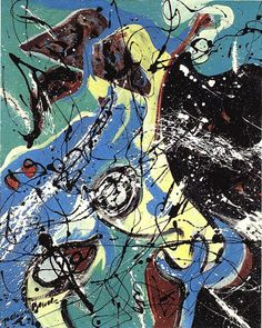 Jackson Pollock, Water Birds. See The Virtual Artist gallery: www.theartistobjective.com/gallery/index.html  COMMENT This piece is interesting, to me it seems to be combining two different methods, watermarbling and action painting. This is something I may try.
