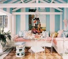 Ruthie Sommers Palm Beach Pool House. I love the stripes!