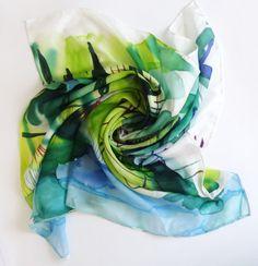 Large silk scarf Silk scarf Large Square Silk by AnaSilkDesign