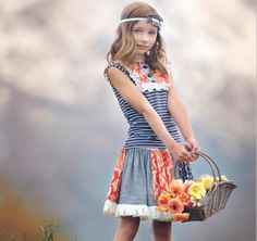 Persnickety Alpine Daisy Shirley Skirt starting up to size 12. Darling for your little girl.