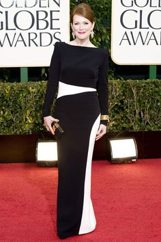 The leading lady in Tom Ford's 2009 film A Single Man, Julianne Moore honored the designer in a two-tone sheath dress as she accepted her Golden Globe for her performance as Sarah Palin in Game Change.