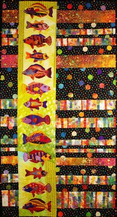 Handmade Art Quilt - School is In - Handmade Art Quilt – School is In This colorful wall hanging is made from commercial and hand dyed cotton, silk and shear fabrics which have been pieced and appliqued. It is machine Strip Quilts, Scrappy Quilts, Quilting Projects, Quilting Designs, Quilting Ideas, Quilt Inspiration, Fish Quilt, Quilt Modernen, Animal Quilts