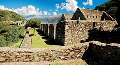 """Choquequirao (Southern Quechua: Chuqi K'iraw, """"Cradle of Gold"""" ) is a  Inca city that is similar in structure and architecture to Machu Picchu. The ruins are buildings and terraces at levels above and below Sunch'u Pata, the truncated hill top. The hilltop was anciently leveled and ringed with stones to create a 30x50 platform."""
