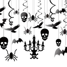 Kuuqa Halloween Hanging Decorations Ceiling Decoration of Chandelier Bat Crow Spider Skull for Haunted House Decoration Set of 20 -- Continue to the product at the image link.