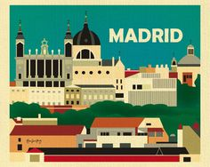 Loose Petals Madrid, Spain skyline print, small Madrid print, 8 x 10, 11 x 14, artist Karen Young, Madrid Spain gifts, Madrid souvenir
