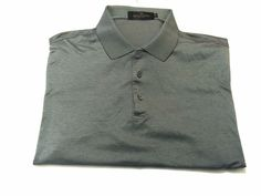 Bugatchi Uomo XL Men's Gray Stripe Short Sleeve Polo Egyptian Cotton #BugatchiUomo #PoloRugby