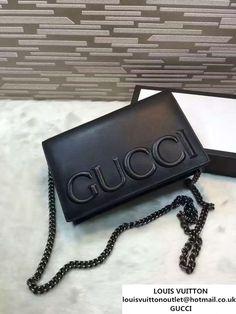 b6877a0c31f Gucci XL Leather Mini Chain Shoulder Bag 421850 Black 2016 Portemonnees En  Handtassen