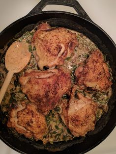 [homemade] Chicken in a spinach mushroom sauce #food #foodporn #recipe #cooking #recipes #foodie #healthy #cook #health #yummy #delicious