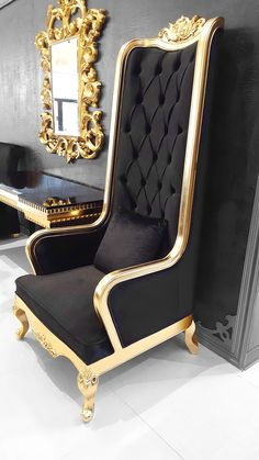 Buy Designer High Back Chair for your commercial design needs or your elegant home decor King Chair, Throne Chair, Royal Furniture, Victorian Furniture, Luxury Furniture, Elegant Living Room, Elegant Home Decor, Black And Gold Living Room, Royal Chair