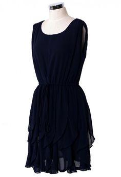 Navy Flouncing Sleeveless Chiffon Dress