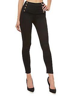 Skinny Black Sailor Pants,BLACK