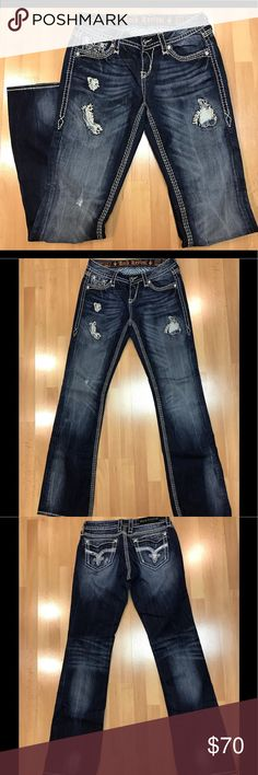 """Rock Revival Vivian Easy Boot Jeans EUC Rock Revival jeans.  Bought these at Buckle.  They are in excellent condition.  Selling them only because I feel the look is a bit young for me now.  Waist: 27""""; Length: 32""""; Rise: 21""""; Width at bottom of hem: 8.5"""". Rock Revival Jeans Boot Cut"""